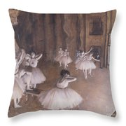 Ballet Rehearsal On The Stage Throw Pillow by Edgar Degas