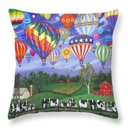 Balloon Race Two Throw Pillow by Linda Mears