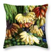 Banana Display. Throw Pillow by Jane Rix