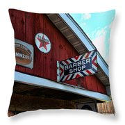 Barber - Old Barber Shop Sign Throw Pillow by Paul Ward