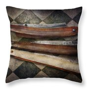 Barber - The Razor Throw Pillow by Mike Savad