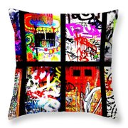 Barcelona Doors ... All Graffiti Throw Pillow by Funkpix Photo Hunter