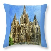 Barcelona Spain Throw Pillow by Irina Sztukowski