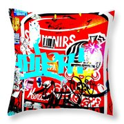 Barcelona Street Graffiti Throw Pillow by Funkpix Photo Hunter