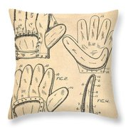 Baseball Glove Patent 1910 Throw Pillow by Digital Reproductions