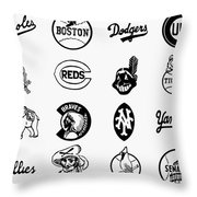 Baseball Logos Throw Pillow by Granger