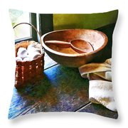 Basket Of Eggs Throw Pillow by Susan Savad