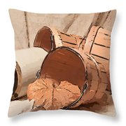 Baskets With Crock II Throw Pillow by Tom Mc Nemar