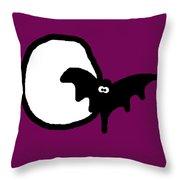 Bat N Moon Throw Pillow by Jera Sky