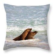 Battle For The Beach Throw Pillow by Mike  Dawson