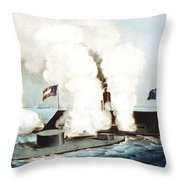 Battle Of The Monitor And Merrimack Throw Pillow by War Is Hell Store