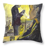 Bb Jazz Throw Pillow by Carol Wisniewski