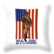 Be A Us Marine Throw Pillow by War Is Hell Store