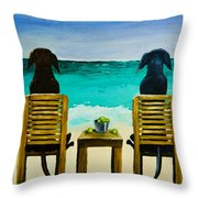 Beach Bums Throw Pillow by Roger Wedegis