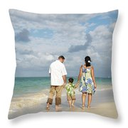 Beach Family Throw Pillow by Brandon Tabiolo - Printscapes
