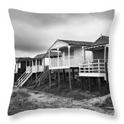 Beach Huts North Norfolk UK Throw Pillow by John Edwards