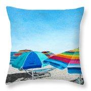 Beach Umbrellas Throw Pillow by Glenda Zuckerman