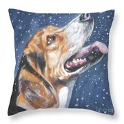 Beagle in snow Throw Pillow by L AShepard
