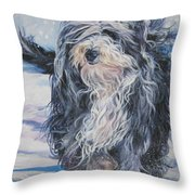 Bearded Collie in Snow Throw Pillow by L A Shepard