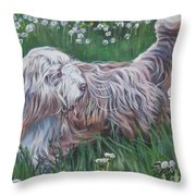 Bearded Collie Throw Pillow by Lee Ann Shepard