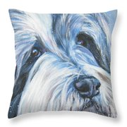 Bearded Collie Up Close In Snow Throw Pillow by Lee Ann Shepard