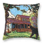 Bears At Barton Cabin Throw Pillow by Nadi Spencer