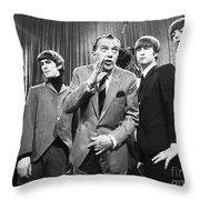 Beatles And Ed Sullivan Throw Pillow by Granger