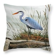 Beautiful Heron Shore Throw Pillow by James Williamson