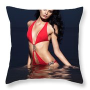 Beautiful Young Woman In Red Swimsuit Standing In Water Throw Pillow by Oleksiy Maksymenko