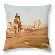 Bedouin In The Desert Throw Pillow by Frederick Goodall