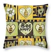 Bee Happy Throw Pillow by Jen Norton