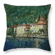 Bellano On Lake Como Throw Pillow by Guido Borelli