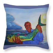 Ben And The Dolphin Fish Throw Pillow by Kathy Braud