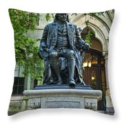 Ben Franklin At The University Of Pennsylvania Throw Pillow by John Greim
