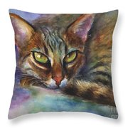 Bengal Cat Watercolor Art Painting Throw Pillow by Svetlana Novikova