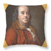 Benjamin Franklin Throw Pillow by Jean Valade