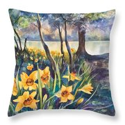 Beside The Lake Beneath The Trees. Throw Pillow by Kate Bedell