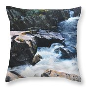 Betws-y-coed Waterfall Throw Pillow by Harry Robertson