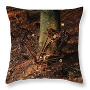 Bicycle Abandoned In A Forest Throw Pillow by Bernard Jaubert
