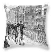 BICYCLIST MEETING, 1881 Throw Pillow by Granger