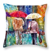 Big Red Umbrella Throw Pillow by Debra Hurd