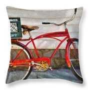 Bike - Delivery Bike Throw Pillow by Mike Savad