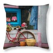 Bike - Lulu's Bike Throw Pillow by Mike Savad