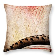 Bike Wheel Red Spray Throw Pillow by Silvia Ganora