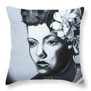 Billie Holiday Throw Pillow by Kaaria Mucherera