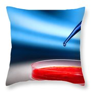 Biotechnology Experiment In Science Research Lab Throw Pillow by Science Research Lab By Olivier Le Queinec