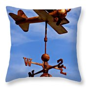 Biplane Weather Vane Throw Pillow by Garry Gay
