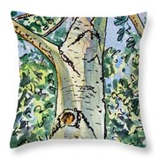 Birch Tree Sketchbook Project Down My Street Throw Pillow by Irina Sztukowski