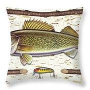 Birch Walleye Throw Pillow by JQ Licensing