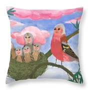 Bird People The Chaffinch Family Throw Pillow by Sushila Burgess